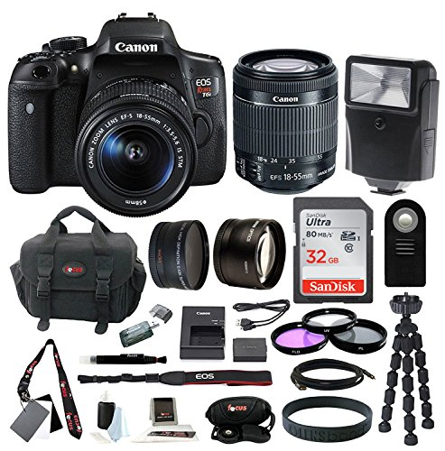 Canon EOS Rebel T6i Digital SLR w/ EF-S 18-55mm f/3.5-5.6 IS STM Lens + 58mm Wide Angle Lens + 58mm Telephoto Lens + Flash + 32GB SDHC Memory Card + 3pc Filter Kit + Wireless Remote Control + Bundle by Focus Camera