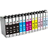 GPC Image 14 Pack Compatible Ink Cartridge Replacement for Epson 79 T079 T079120 (4 Black, 2 Cyan, 2 Magenta, 2 Yellow, 2 Light Cyan, 2 Light Magenta) for Epson Artisan 1430 Stylus Photo 1400 Printer