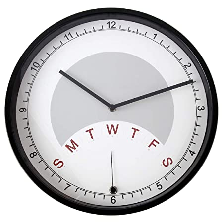 Lily s Home Day Clock Wall Clock Indicating Day of The Week A Fun Retirement Gift Large 13 3 4 Inch Diameter Black