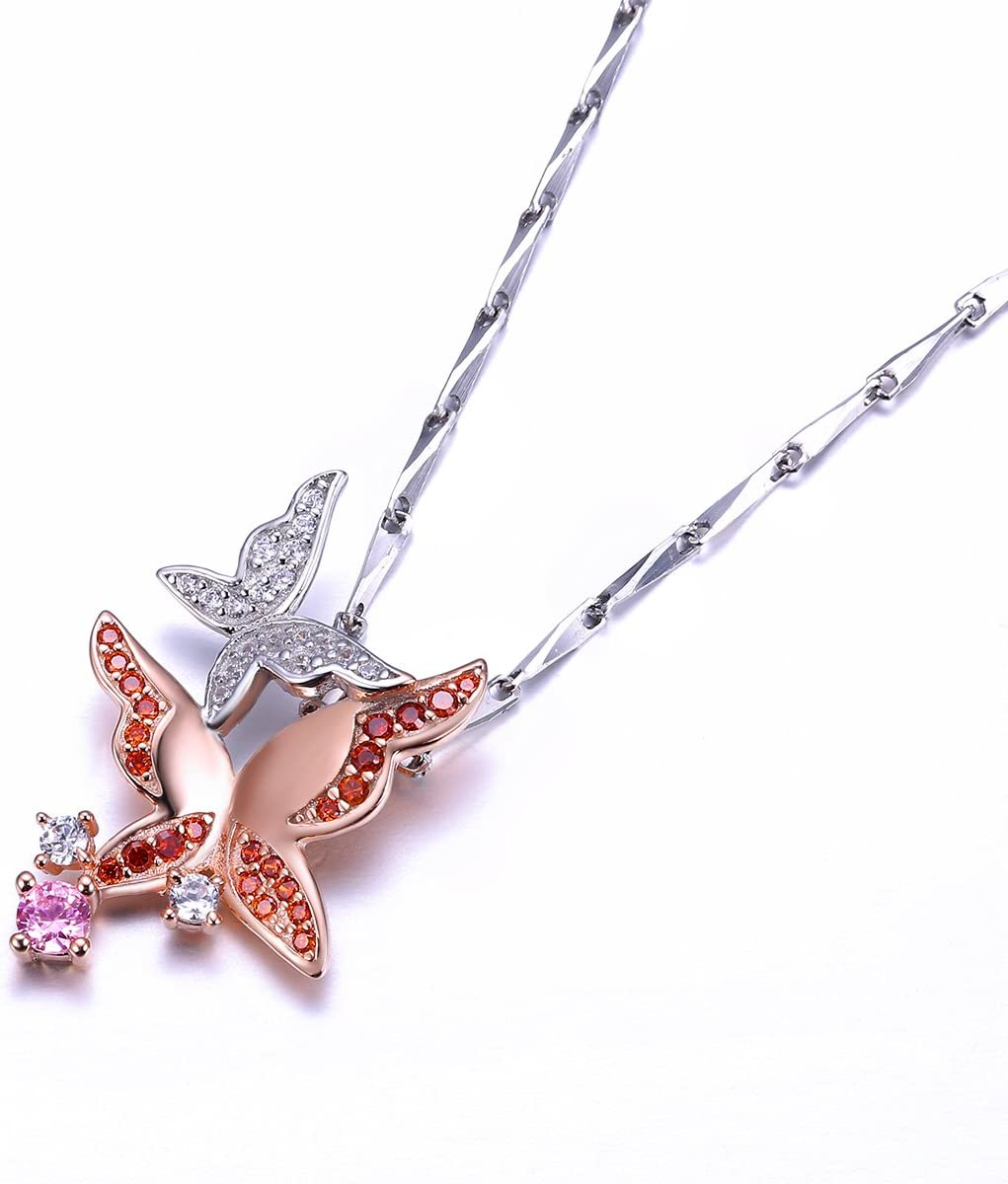 PAKULA 925 Sterling Silver Women 2 Tone Dainty Butterfly Charms Pendant Necklace Chain 18 Inch