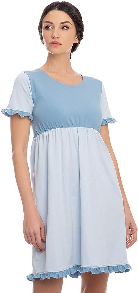 Evoni Negligee - Camisón de algodón para Mujer (Manga Corta, con ...