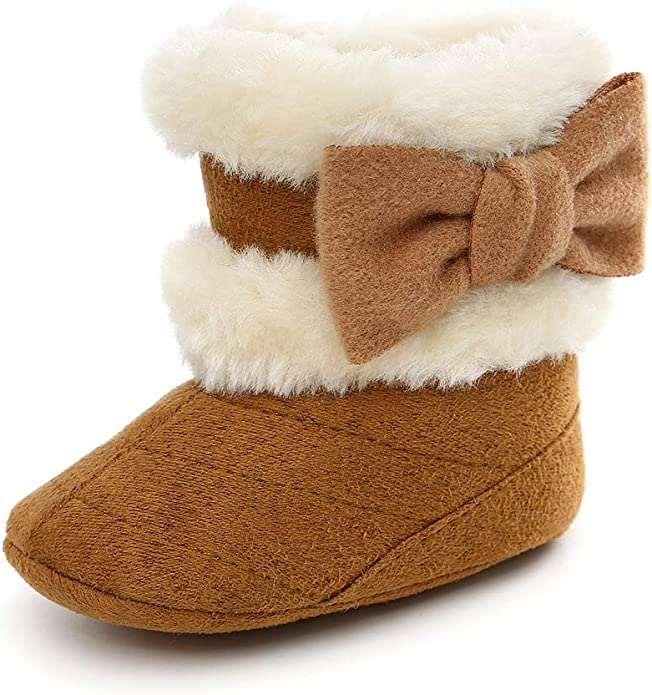 ESTAMICO Infant Baby Bowknot Knitted Warm Winter Snow Boots