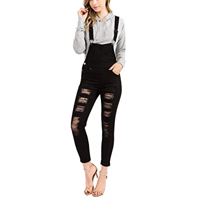 Love Moda Women's Sexy Distressed Slim Fit Skinny Overalls with Spandex: Clothing