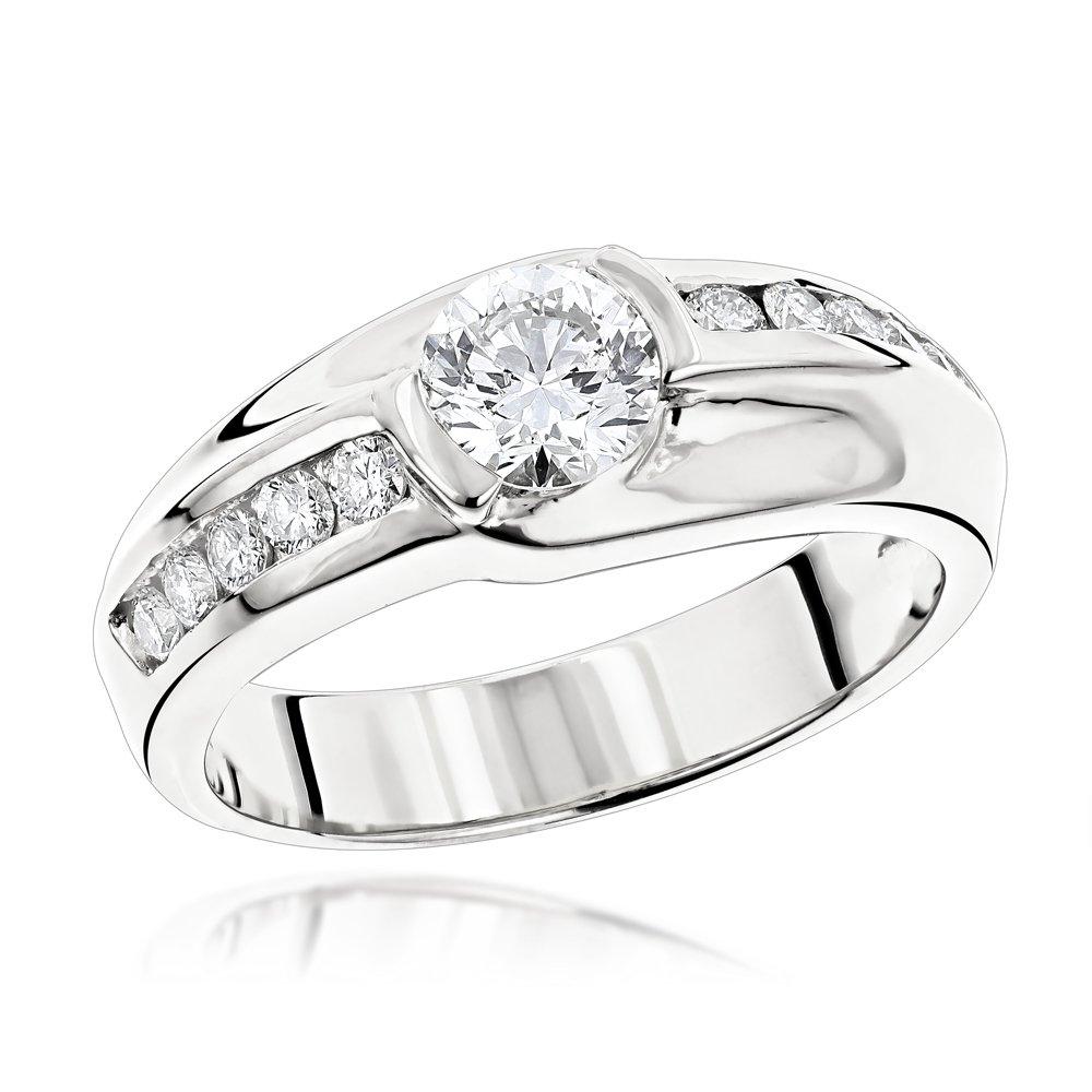 Luxurman Unique Mens 14k Solitaire Set 1.5 Ctw Natural Diamond Ring For Him (White Gold Size 11)