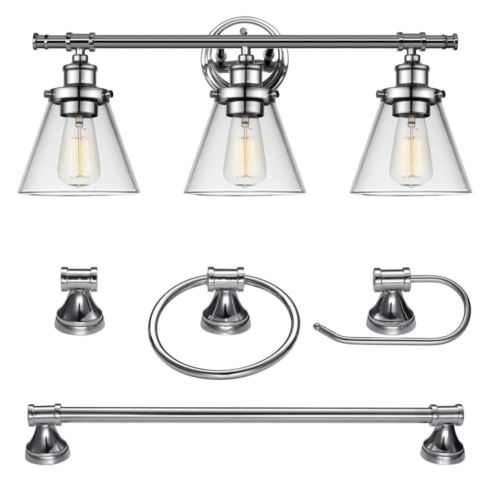 Globe Electric 51234 5-Piece Parker All-in-One Bath Set, 3-Light Vanity, Bar, Towel Ring, Robe Hook, Toilet Paper Holder, Chrome Finish