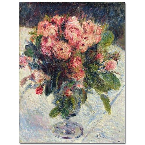 Pierre Renoir Auguste Roses - Moss Roses, 1890 by Pierre-Auguste Renoir, 14x19-Inch Canvas Wall Art