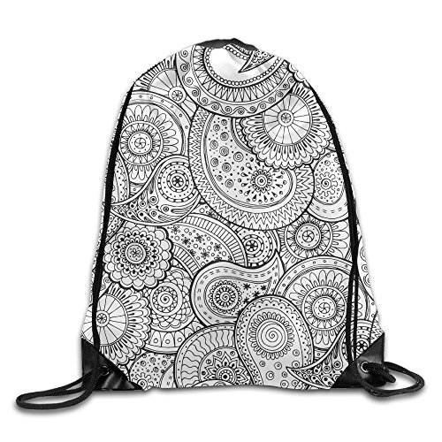 - Tribal Black White Paisley Stylish Drawstring Backpack Gym Sackpack For Men & Women School Travel Bag