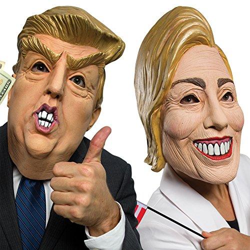 (Set) Presidential Candidates Hillary Clinton and Donald Trump Latex Masks (Latex Masks Halloween)