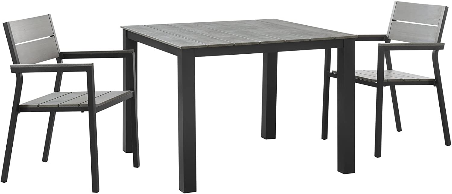 """Modway Maine Aluminum 3-Piece Outdoor Patio Dining Set with 39"""" Dining Table and Two Dining Armchairs in Brown Gray"""
