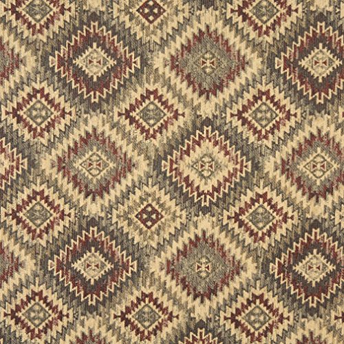 J766 Southwest Diamond Chenille Upholstery Fabric | Burgundy Beige and Green Chenille Upholstery Fabric by The Yard