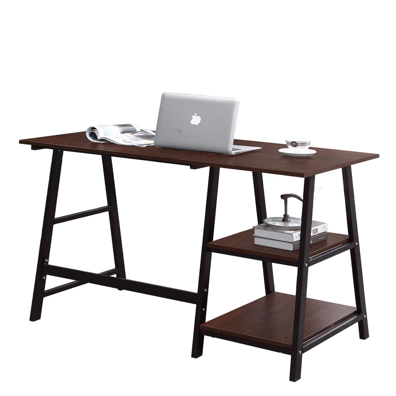 "Soges Computer Desk Trestle Desk Writing Home Office Desk Hutch Workstation with Shelf, Walnut & Black 47"" CS-Tplus-120WB"