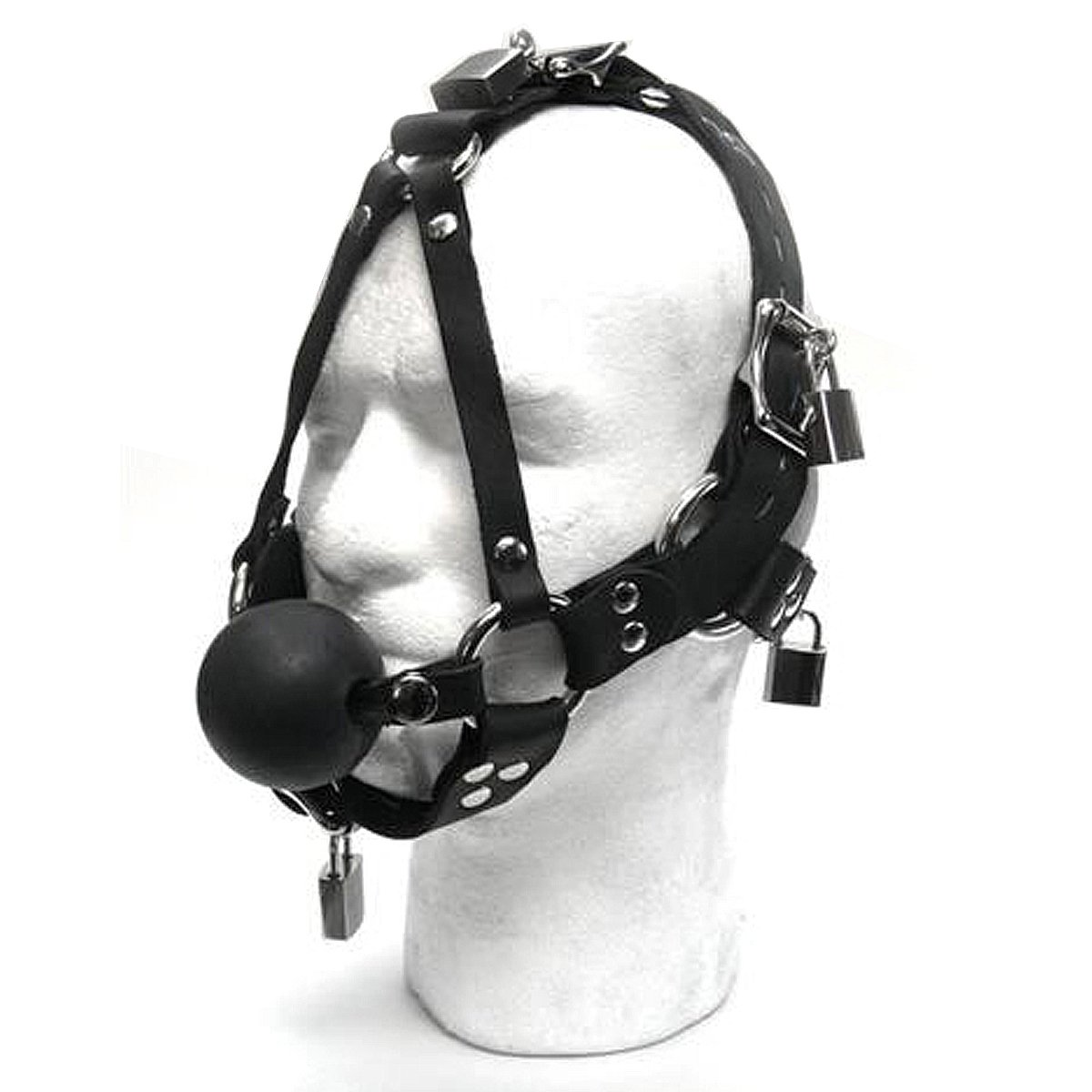 Dungeonware Exclusive Locking Ball Gag Head Harness by Dungeonware