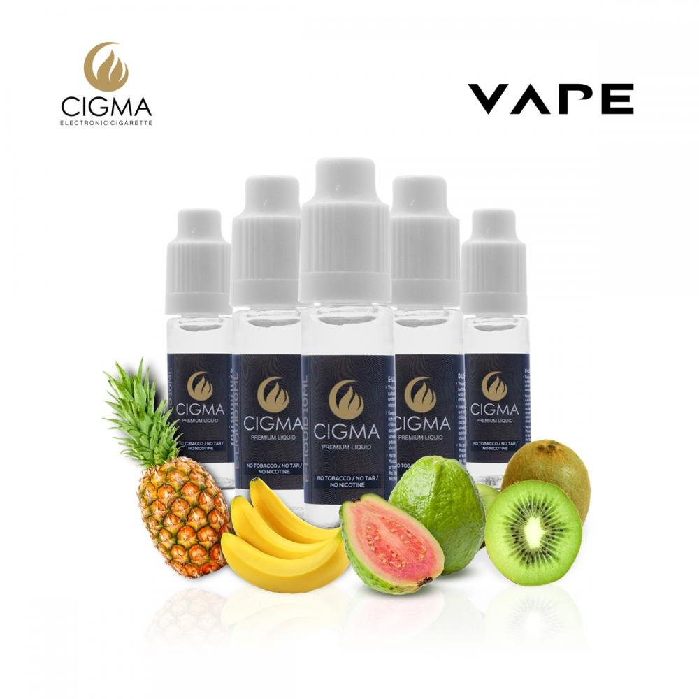 CIGMA 5 X 10ml E Liquido Tropical Fantasy Mix | Pineapple | Mint | Banana | Guava Apricot | Kiwi cantaloupe | Ingredientes de Alto Grado | Hecho para el ...