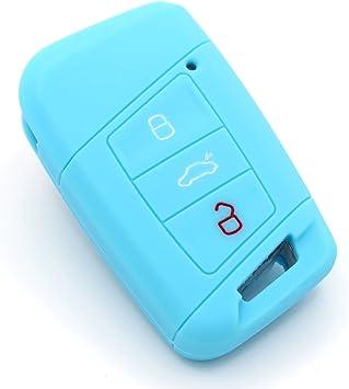 Coque en silicone pour cl/é de voiture /à 5/boutons bleu Finest-Folia