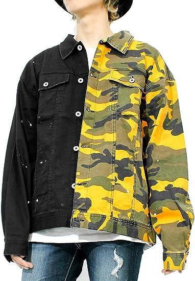 [one colors] ビッグGジャン メンズ カモフラ クレイジー 切替 オーバーサイズ ミリタリージャケット