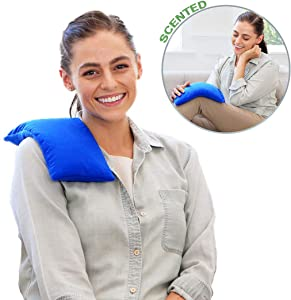 My Heating Pad Herbal Aromatherapy Pack | Portable and Microwavable Neck and Shoulders Pillow for Stress, Tension, Headache, and Muscle Pain Relief | Hot and Cold Therapy - Lavender | Blue