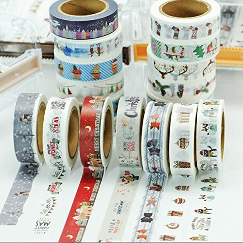 Awerise 5 Rolls Xmas Washi Tape, DIY Scrapbooking Decorative Tape, Masking Tape, Planner Tape, Craft Gift Decoration Tape Stickers