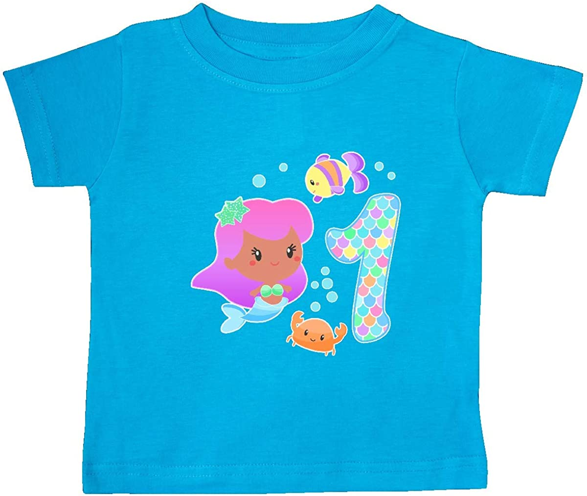 inktastic First Birthday Mermaid with Baby T-Shirt 18 Months Turquoise 36606