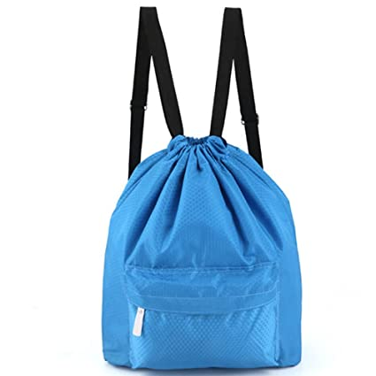 678a82b527ef Zmart Beach Backpack Portable Waterproof Gym Swim Pool Drawstring Bag Blue