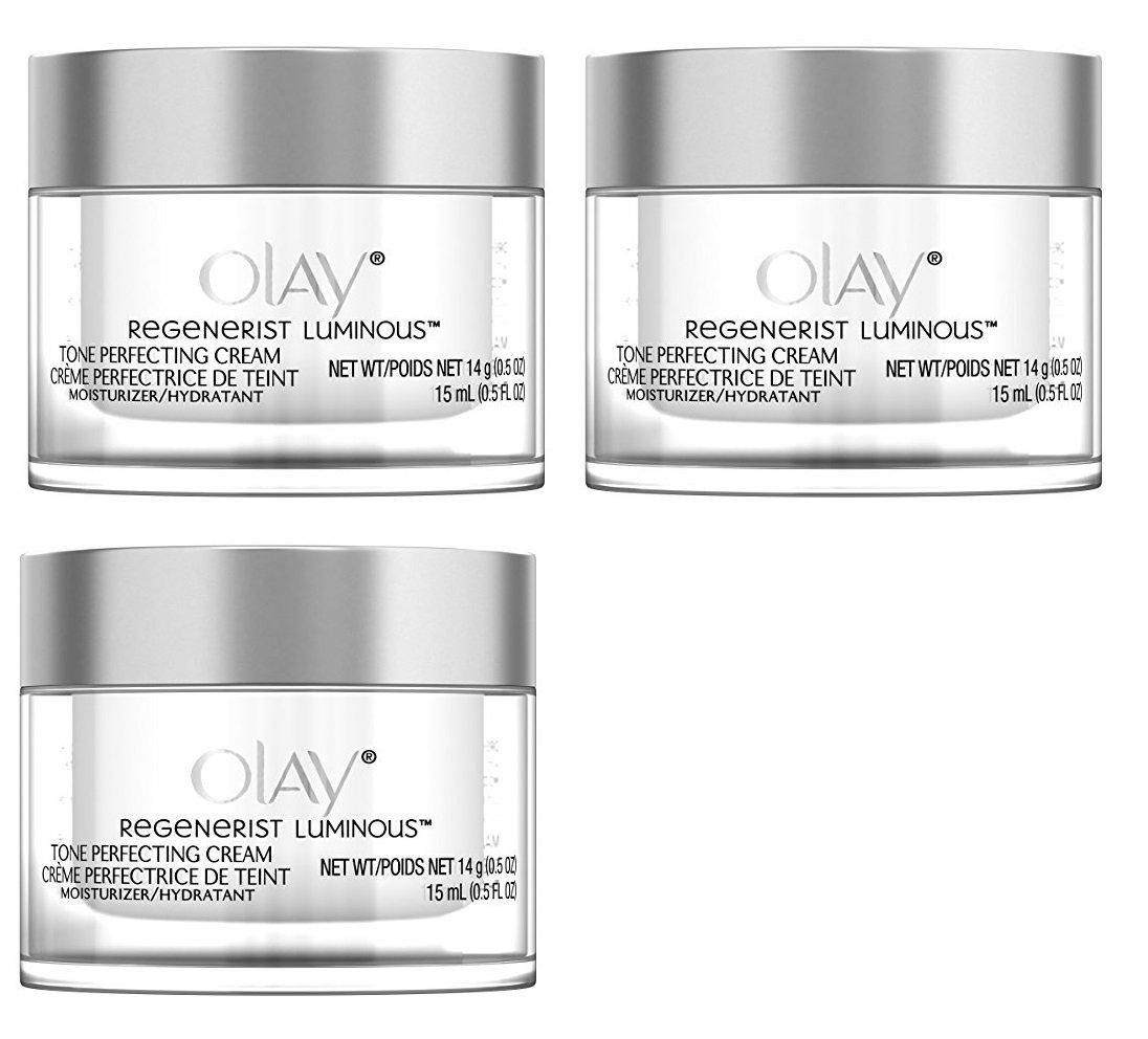 Olay Regenerist Luminous Tone Perfecting Cream, 0.5 Ounce (Pack of 3) + FREE Curad Bandages 8 Ct.