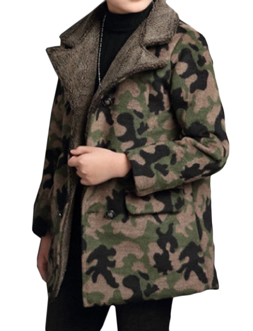 Abetteric Big Boys Camo Outerwear Long Sections Double-breasted Peacoat