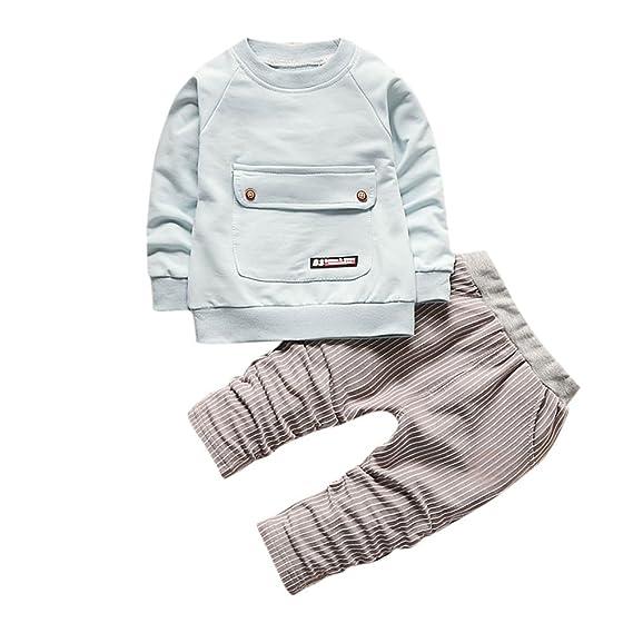 YanHoo Ropa Recién Nacidos Traje de otoño e Invierno Conjunto de 2 Pantalones de Rayas con