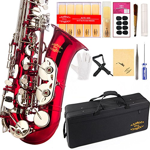 Glory Red/Silver keys E Flat Alto Saxophone with 11reeds,8 Pads cushions,case,carekit-More Colors with Silver or Gold keys