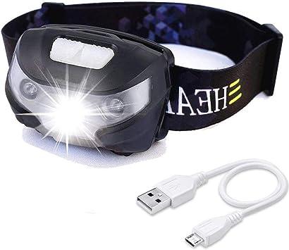 USB Head Torch Headlamp Rechargeable Waterproof Bright Camping Hiking Walking UK