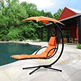Cloud Mountain Hanging Chaise Lounger Chair Air Porch Floating Swing Hammock Chair With Arc Stand and Canopy Umbrella, Orange For Sale