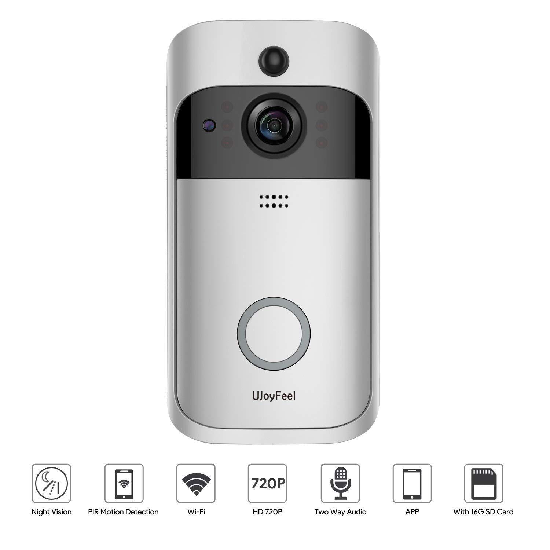 Video Türklingel Home Smart Überwachungskamera- Mit 16 GB Speicher Zweiwege-Audio Nachtsicht PIR-Bewegungserkennung- Unterstützung iPhone Android Modelle Verwenden