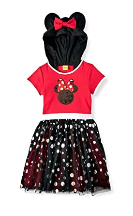 Disney Big Girls Minnie Mouse Hooded Sequin Tutu Dress (10 / 12 ...