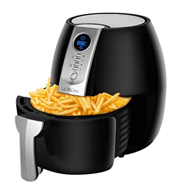 Ultrean Air Fryer, 4.2Qt Electric Hot Air Fryers Oven Oilless Cooker with LCD Digital Screen and Easily Detachable Frying Pot, ETL/UL Certified,1-Year Warranty,1500W (Black)