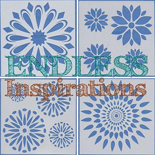 Endless Inspirations Original Stencils, 6x6 Inch, All The Flowers Bundle 1, 4 Pack - Dandelions, Flower Circle, Flower Petals, Poinsettia -