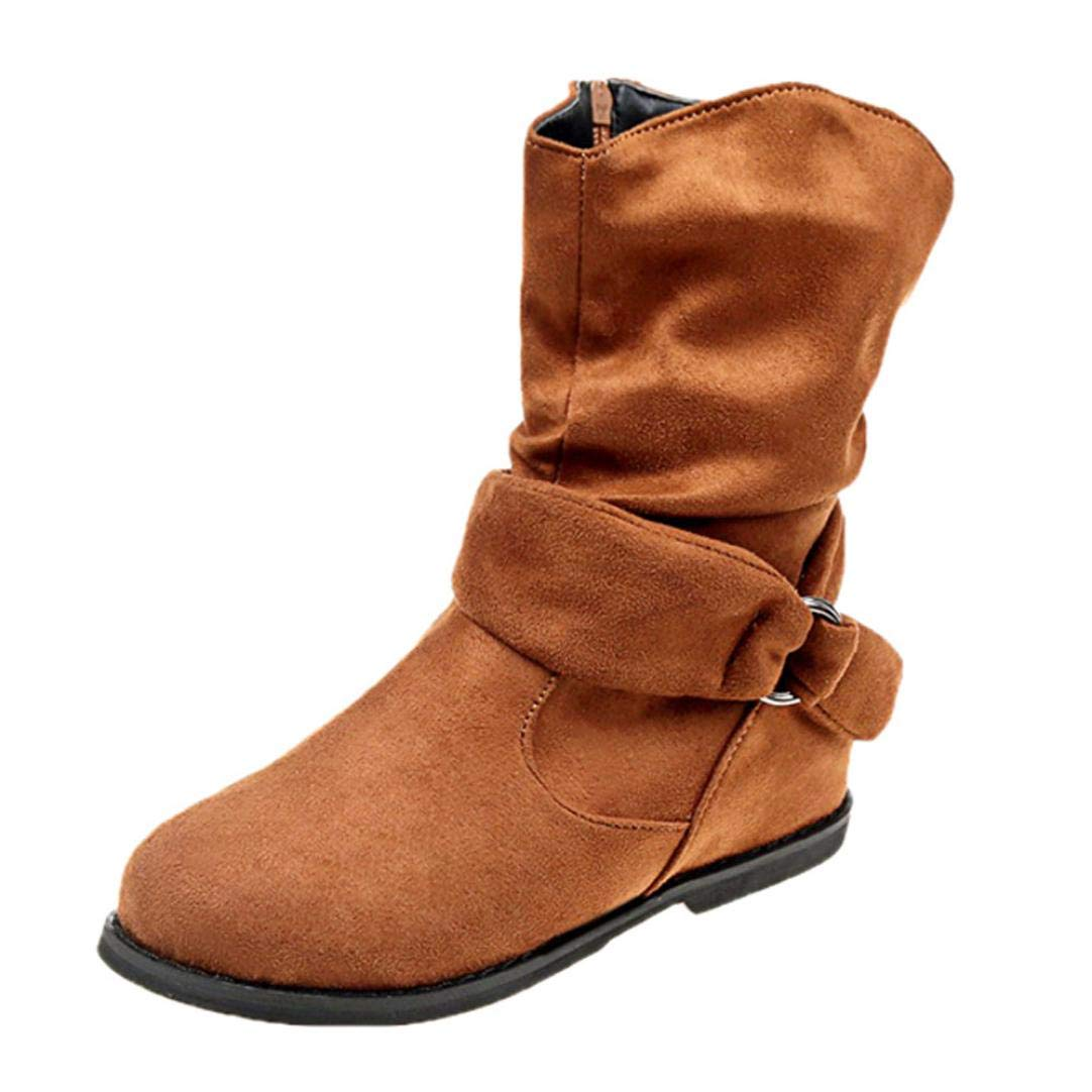 Womens Winter Boots | Side Zipper Mid-Calf Slouchy Short Boot | Buckle Straps Ankle Booties Flat Shoes Inkach - Womens Boots