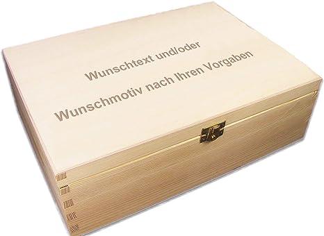 Holz-Kassette Holzbox Lasergravur große Holz-Schatulle geeignet für A4 incl