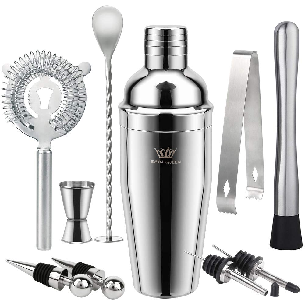24oz Cocktail Shaker Bar Set, 9 Piece Stainless Steel Home Bar Tools with Shaking Tins, Muddler, Mixing Spoon, Ice Tongs, Double Measuring Jigger, Liquor Pourers, Strainer and Bottle Stoppers by RAIN QUEEN