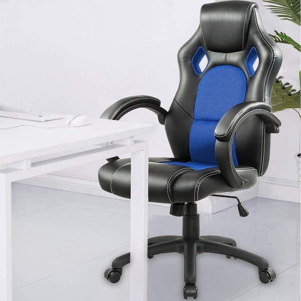 BAKAJI Sedia Sportiva Poltrona Direzionale da Ufficio 4 Ruote Girevole 360/° Modello Racer Gaming Design Extra Ecopelle Nero e Tessuto Bianco