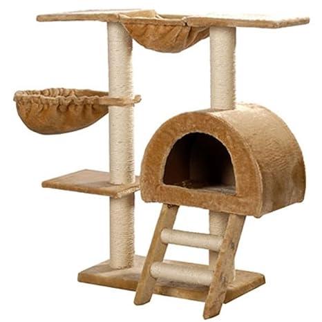 SENLUOWX Rascador Para Gatos 105cm Color Beige Felpa Torre De Gato Gimnasio