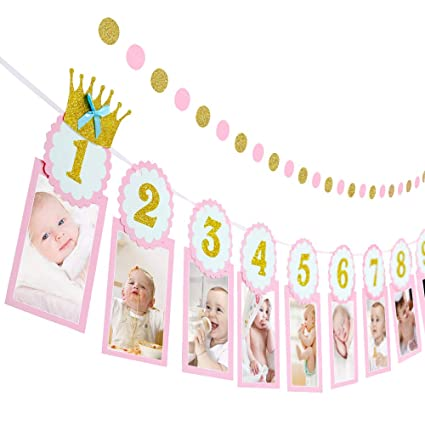 Amazoncom 1st Birthday Girl Decorations Monthly Milestone Photo