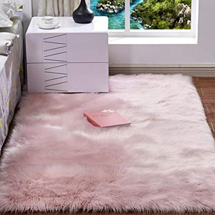 Amazon.com: Photo Prop Dusty Pink Luxury Faux Fur Area Rug ...