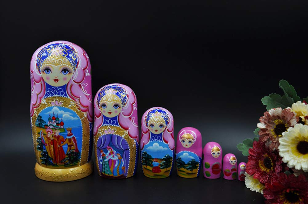 Moonmo 7pcs Beautiful Handmade Wooden Russia Nesting Dolls Gift Russian Nesting Wishing Dolls Matryoshka Traditional by Moonmo (Image #3)