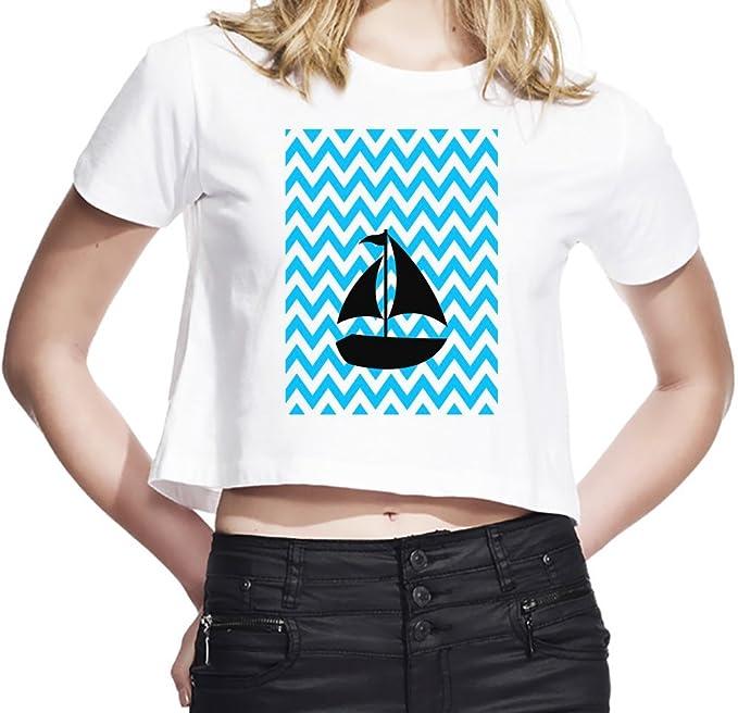 Ship In The Ocean Illustration Camiseta Corta Mujeres Large