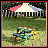NEW KIDS Wooden Garden Picnic Table Bench Furniture Set Parasol Outdoor Gazebo