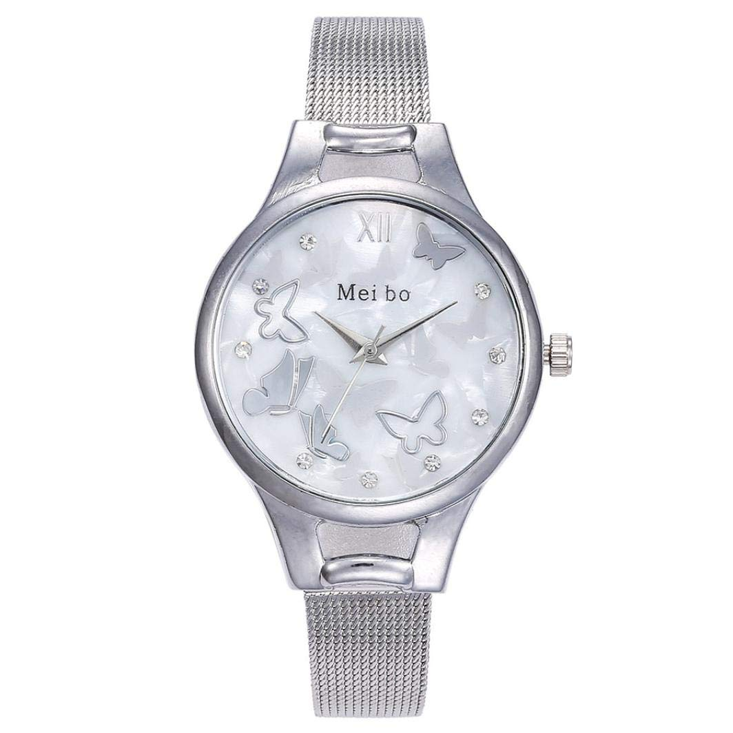 Women's Watches, Iuhan Women Stainless Steel Band Ladies Quartz Wristwatches Women Butterfly Clock Bracelet Watch Analog Wrist Watch (Silver)