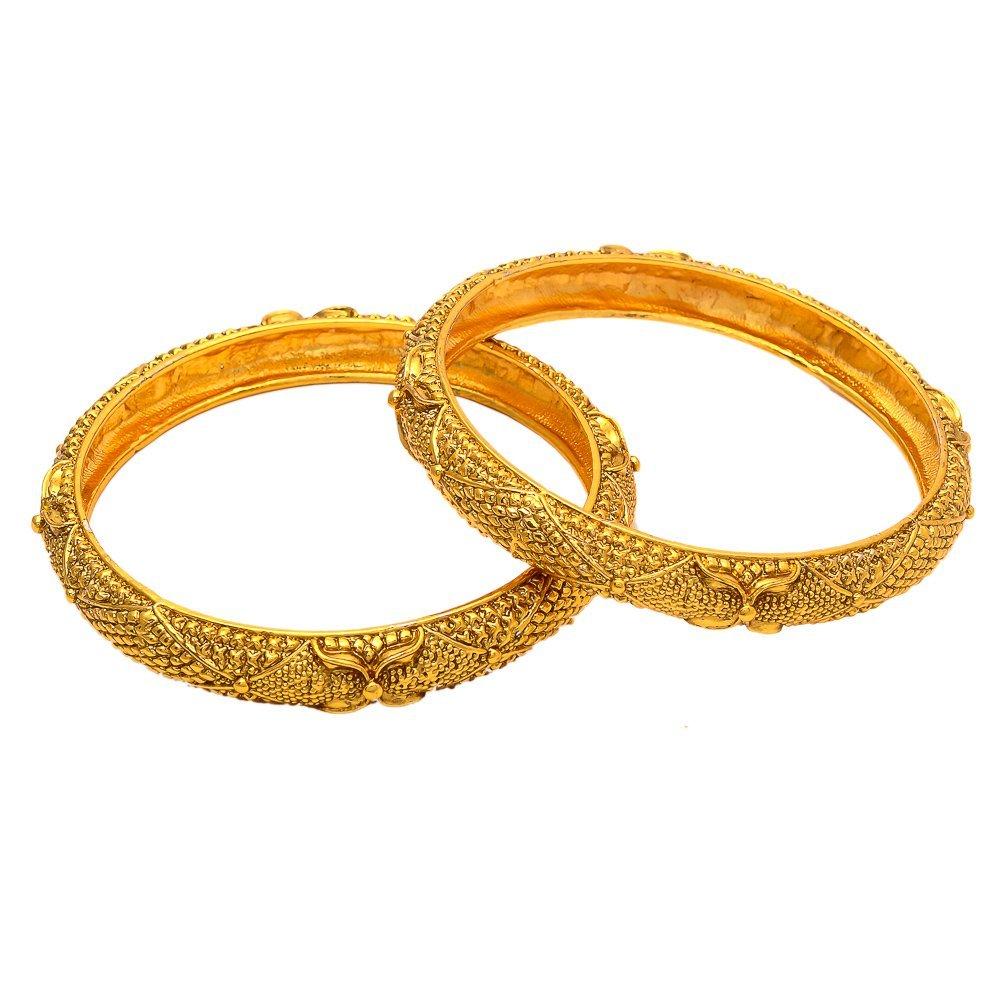 Geode Delight Women's Gold Plated Vintage Style Ethnic Bangle Kadaa Set Of 2 (2.4)
