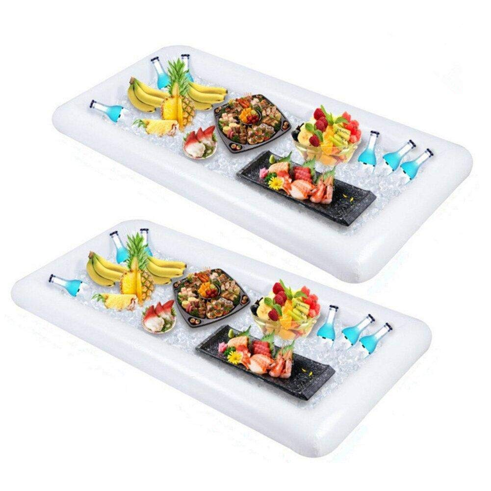 Inflatable Salad Bar Buffet Ice Cooler Beverage Serving Bar Food Drink Holder for Party Picnic BBQ Luau with Drain Plug(2 pack)