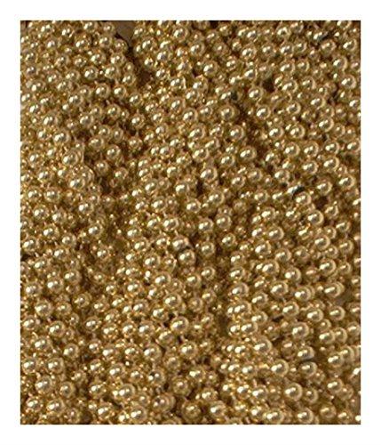 [60 Gold Mardi Gras Beads Party Favors Metallic Necklaces 5 Dozen Lot] (Jumbo Mardi Gras Beads)