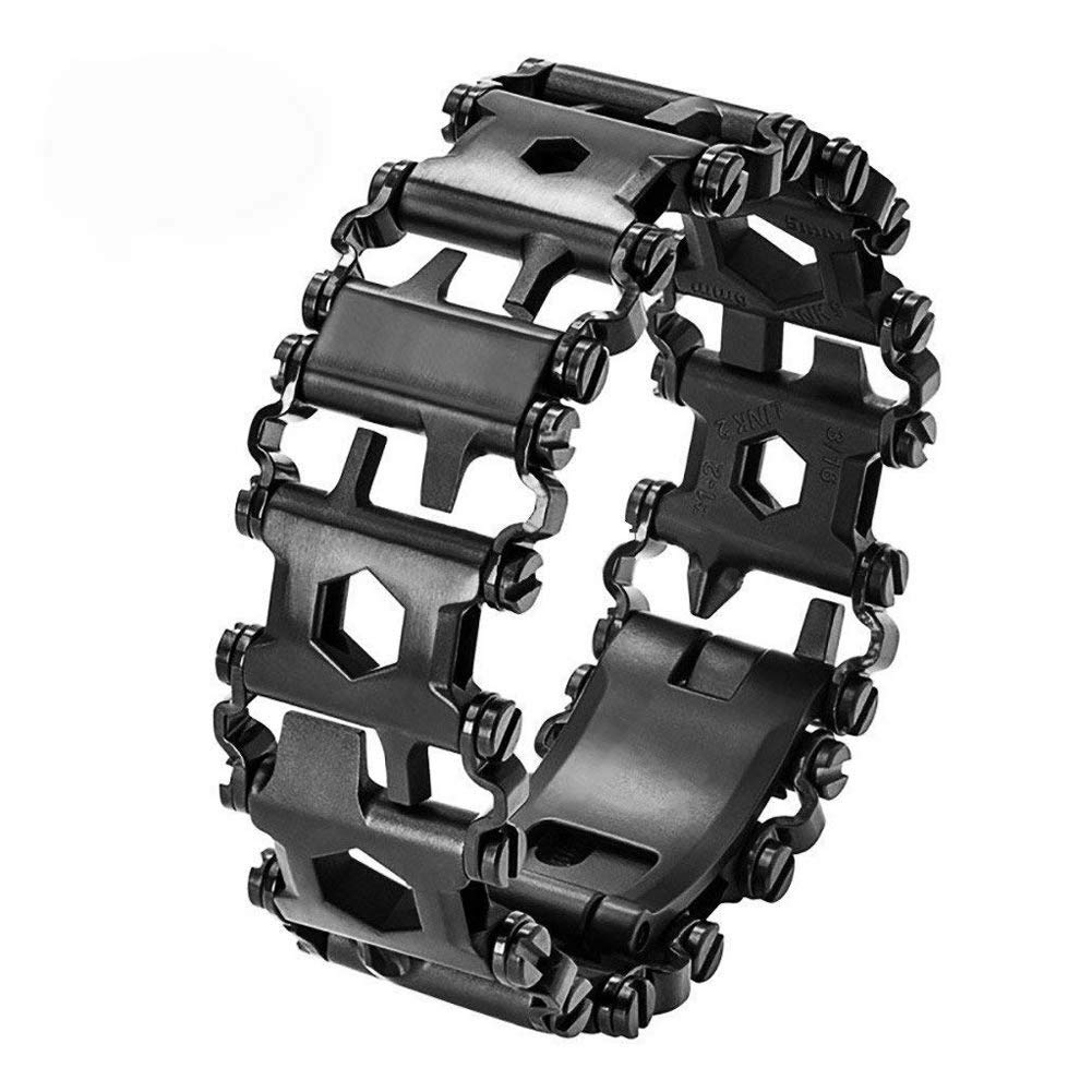 Multi Tool Bracelet for Men, 29 in 1 Stainless Steel Multifunction Bracelet Survival Multitools Bracelet Travel Friendly Wearable Multitool Tread Bracelet Black