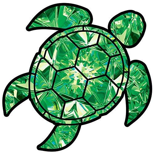 Emerald Sea Turtle Birthstone Decal May Print Sticker Vinyl Rear Window Car Truck Laptop Gem Travel Mug Water and Fade Resistant 2.5