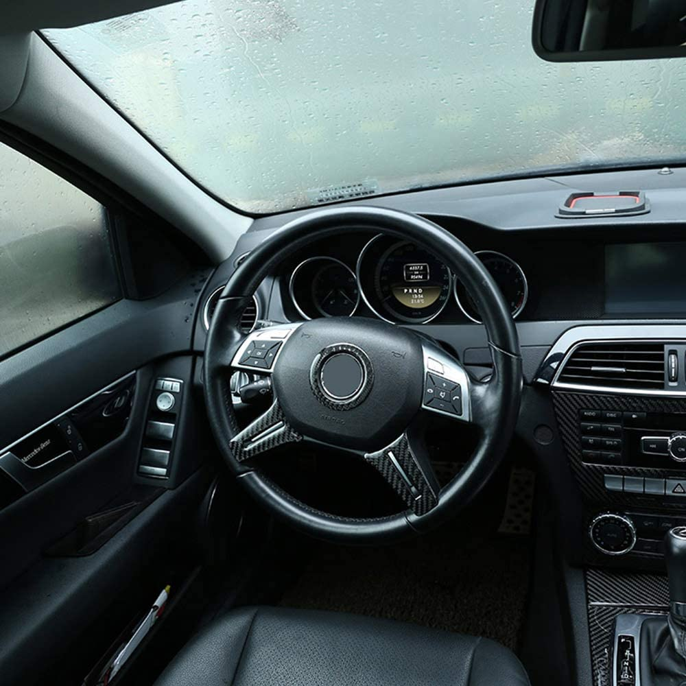 DIYUCAR D/écoration de volant en fibre de carbone pour Benz Classe C W204 2007-2013